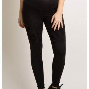 Pinkblush Maternity Black Moto Leggings